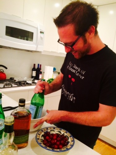 Mike Donahue crushes cherries with a Perrier bottle. We're nothing if not classy.