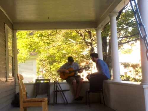 Kluger gives guitar lessons on our front porch #glamorous