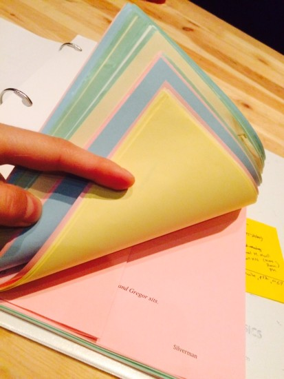 Rewrites - each color is a different day.